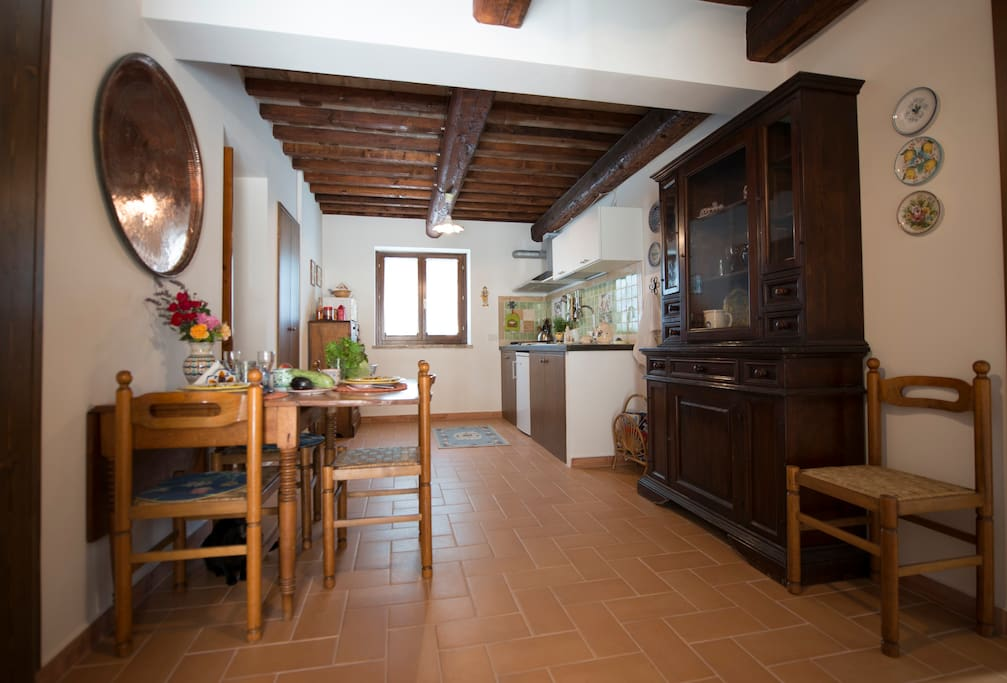 The kitchen is the main common room of the house and is finely decorated with local and foreign art.