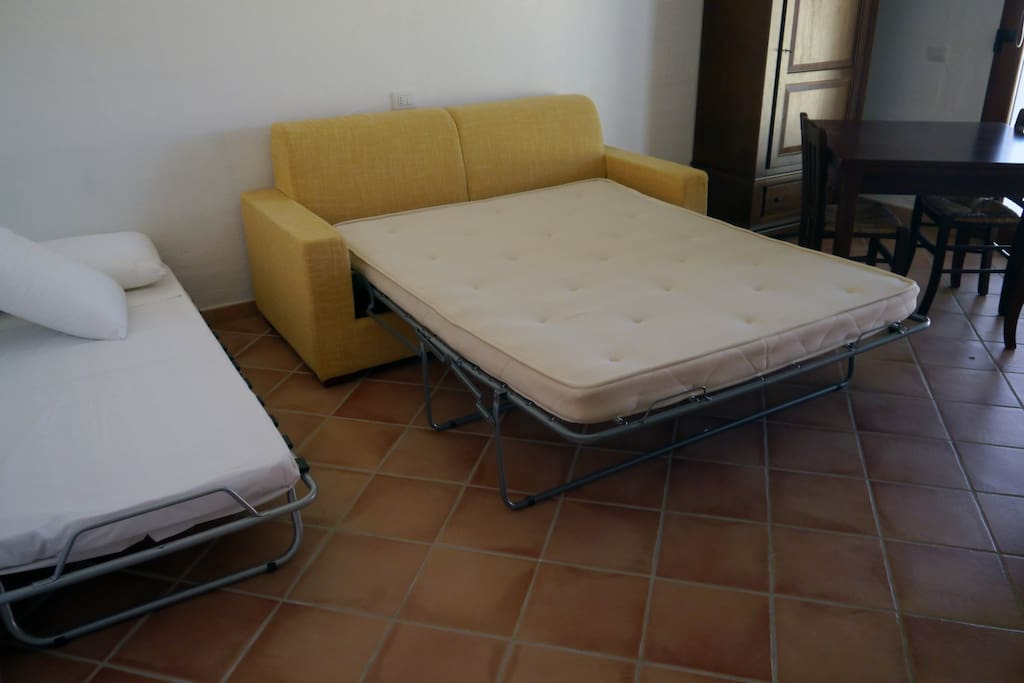 Sofa bed, and single bed