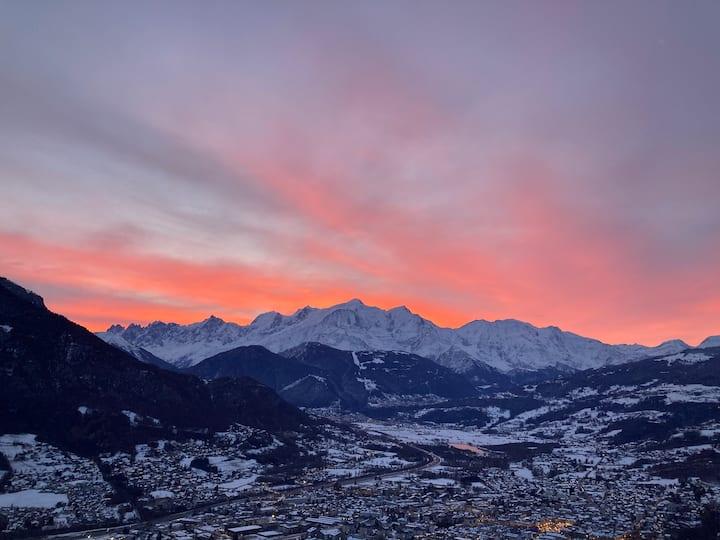 2 pièces rez-de-jardin calme face au Mont-Blanc