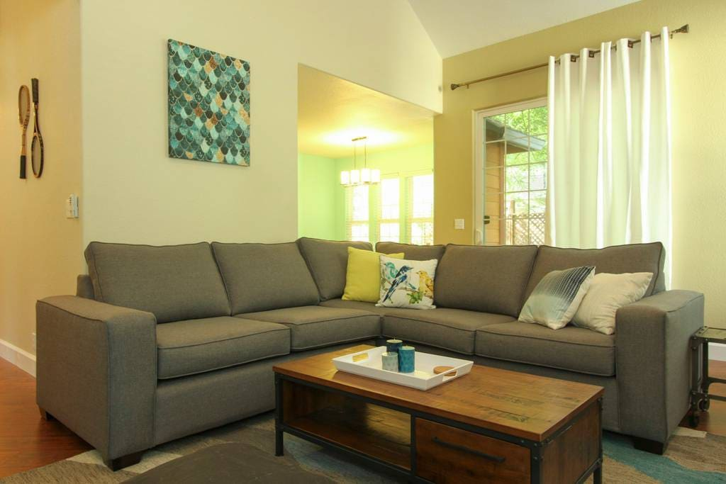 Beautiful and comfortable large sectional that pulls out into a queen size sofa bed.