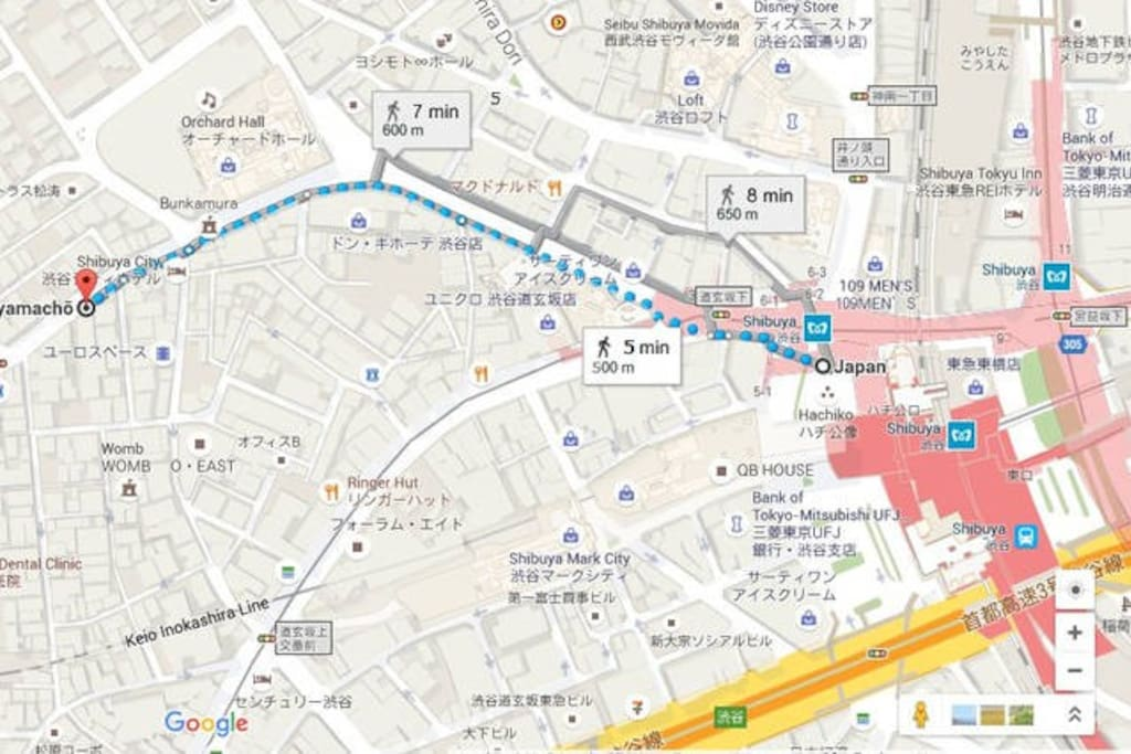 5 minute walk from Shibuya station Exit Hachiko (about 7 min walk if the road is congested.)