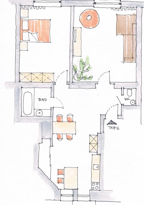 Plan of the flat, 76m2