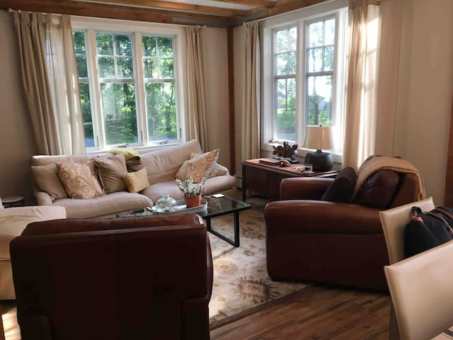 Comfortable living area for reading, puzzles or family TV