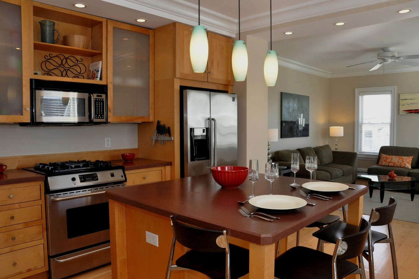 Kitchen with large island for easy