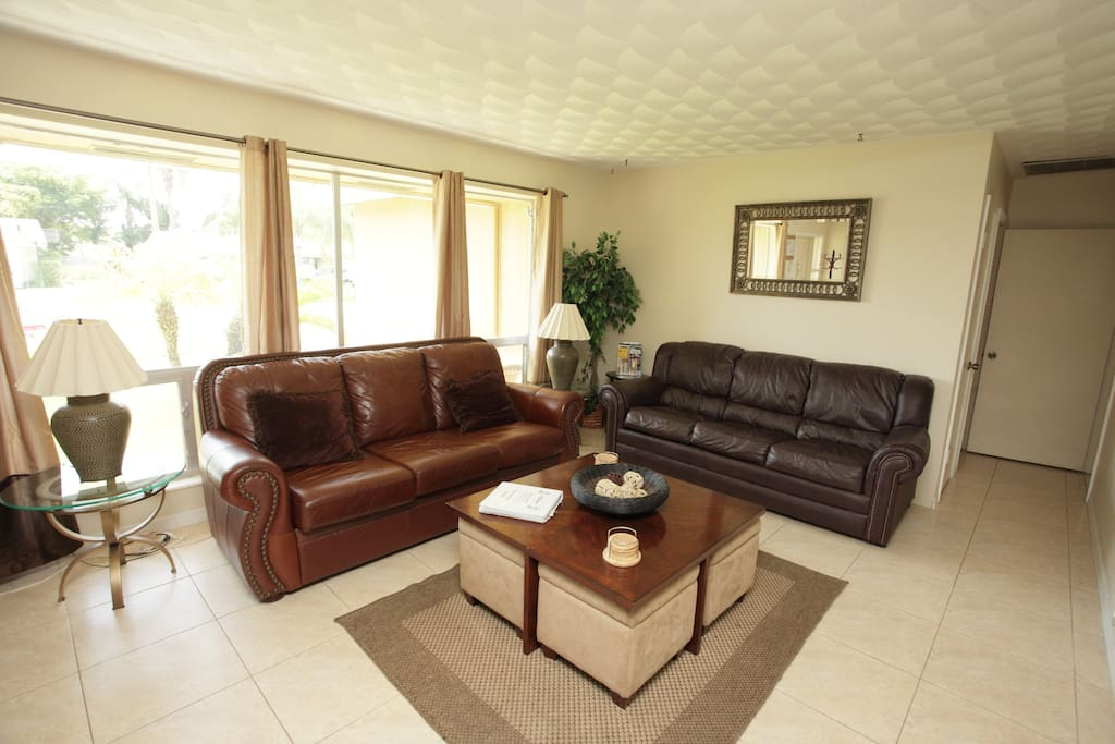 Living Room w/Two Leather Couches