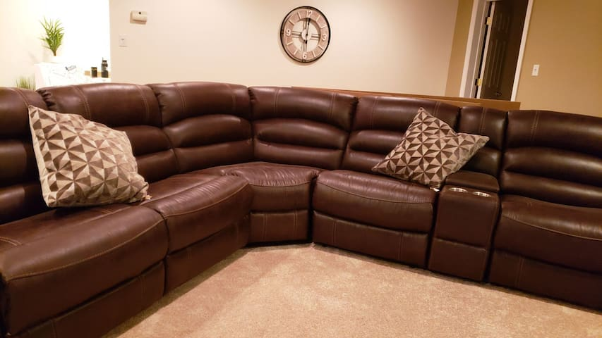 3 recliners a double drink rest, a small storage area and power supplies to make this sectional very versatile.