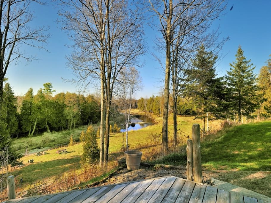 A serene view from the back porch of the Nottawasaga River, a fisherman's haven during the trout and salmon runs.