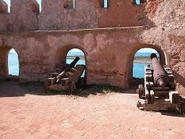 Cannons at the local historic fort of mly ismael overlooking the river sebou and the harbor