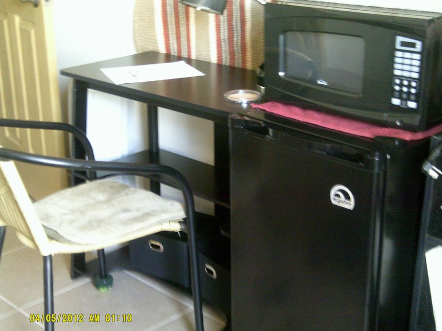 Here's your desk, next to the refrigerator and microwave.