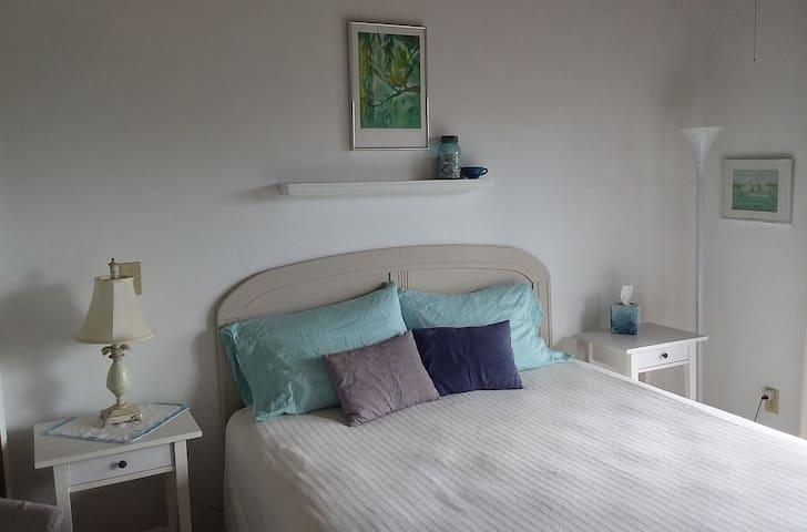 Second bedroom with queen bed, sliding glass door overlooking backyard.