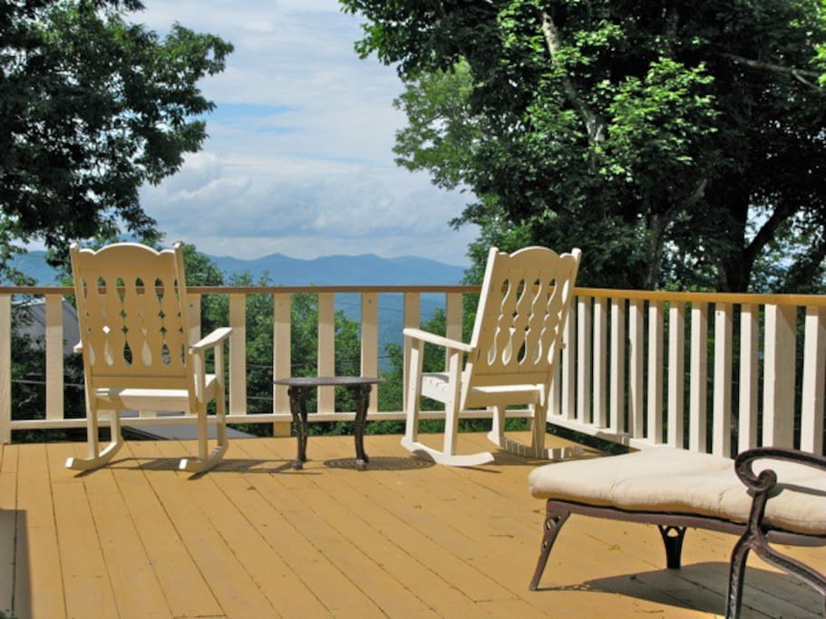 Rocking Chairs and Chaise Lounges on Deck.