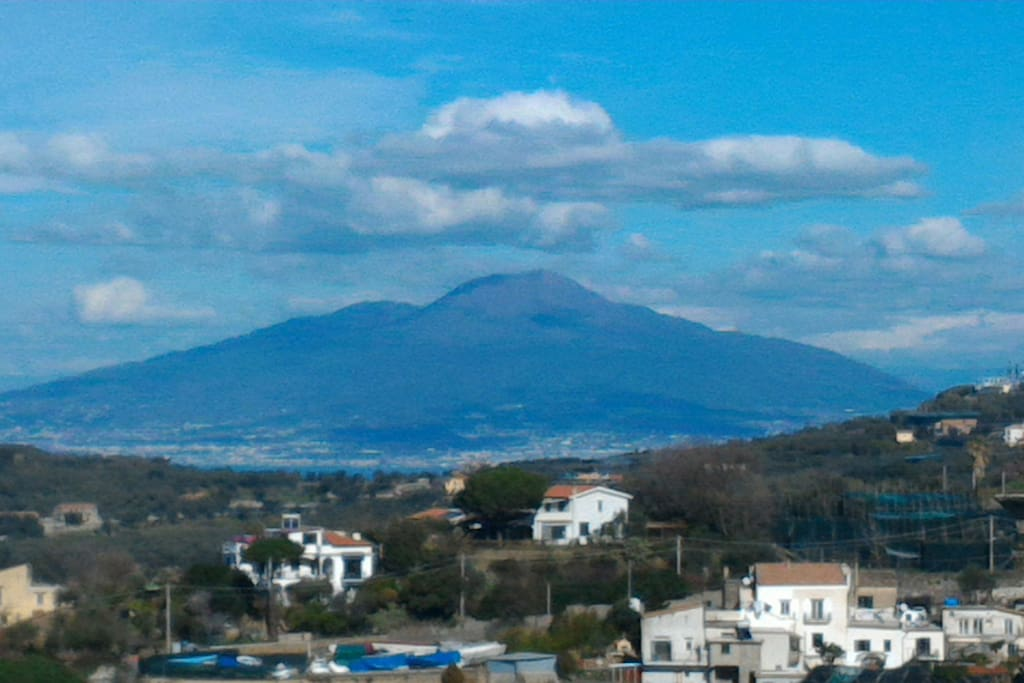 Vesuvius Mount view from Roof shared terrace at the villa in Amalfi coast accommodation