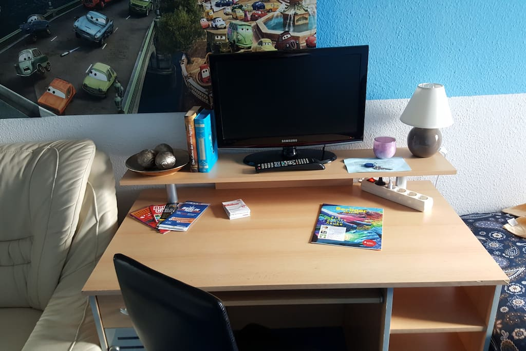 desk with several turistic information