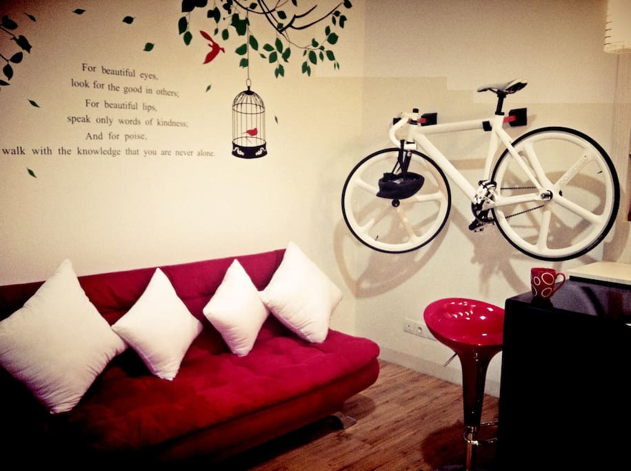 Cozy living room.  We provide bicycle also to allow you enjoy the experience of fun Jakarta Car Free Day every Sunday morning.
