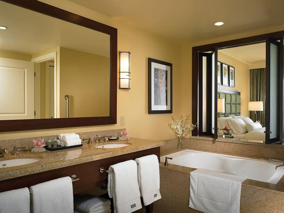 Not your average bathroom to say the least.  Large, comfortable and extremely luxurious.