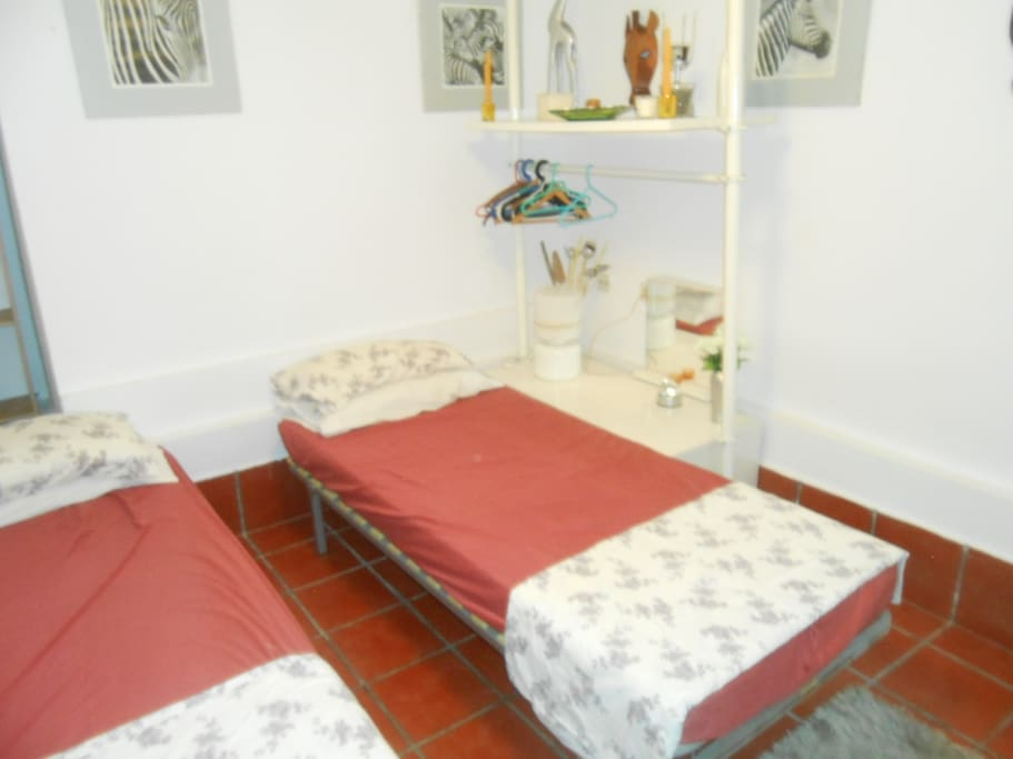 2 single beds, 3rd bed avaliable on request.
