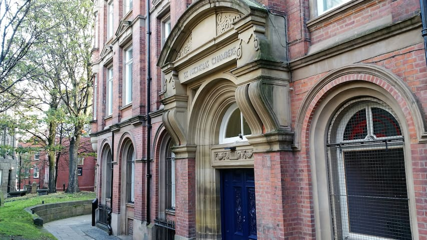 Your apartment is on the first floor of this charming historical building -- St Nicholas Chambers