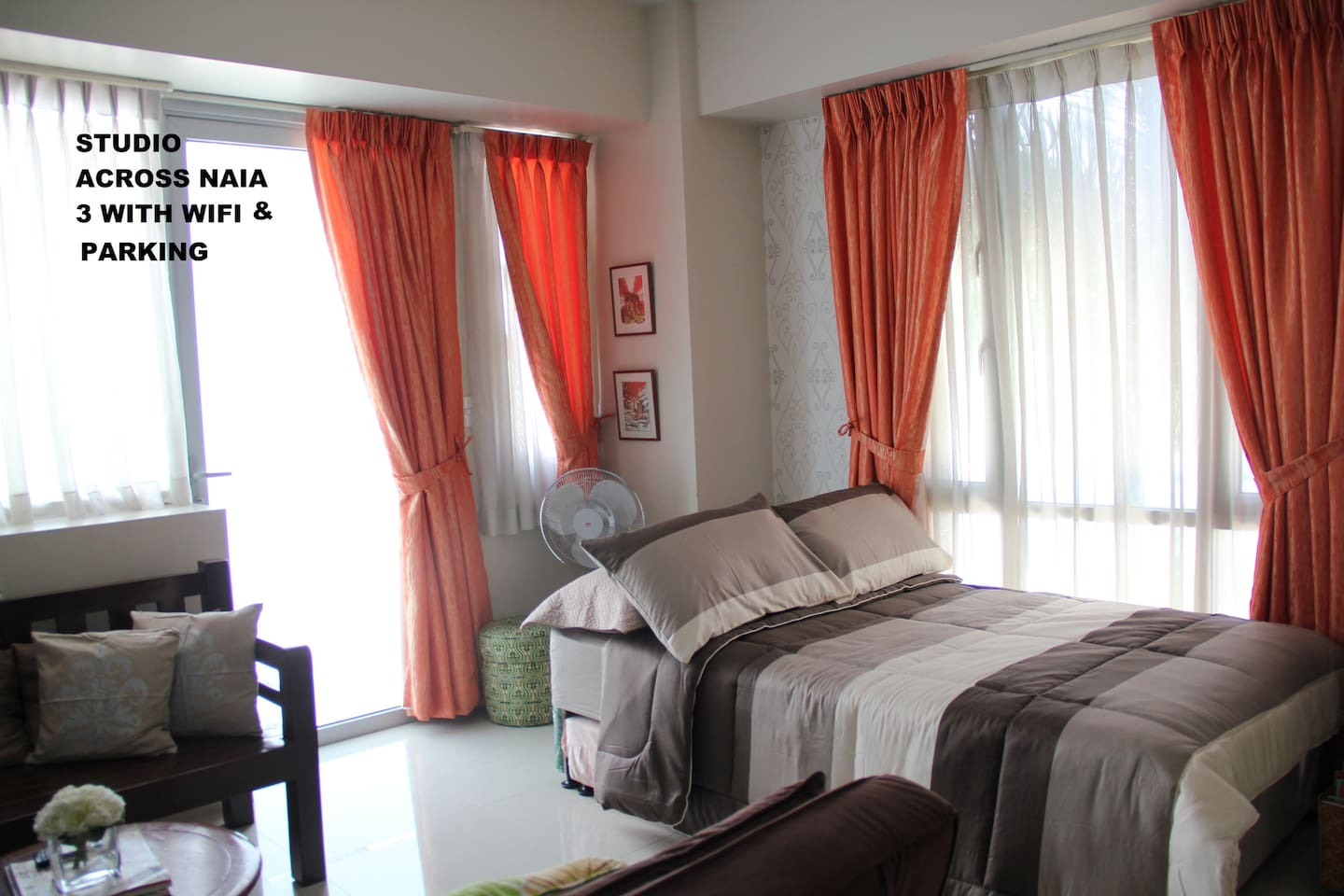 Real bed (semi-double) with pull-out bed in studio unit near Resorts World and NAIA Terminal 3