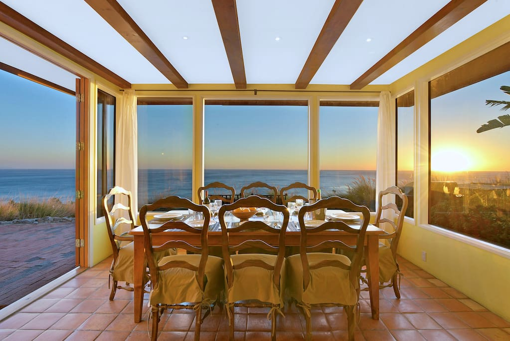 Gorgeous ocean, sunrise and sunset views from the dining room