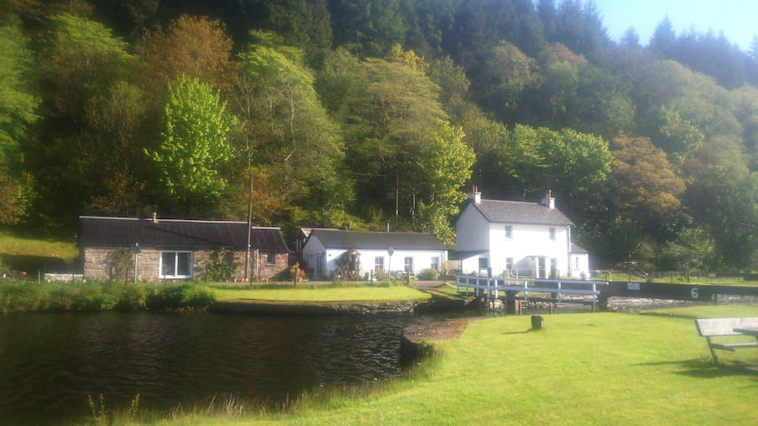 The Cottage sits beside one of the locks on the Crinan Canal