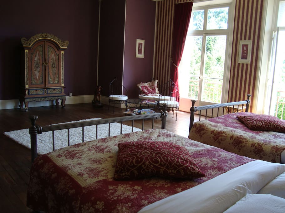 chambre d'aubergine is a family room  starting from 125  euro,  or 5 person   for 135 euro.   gorgeous  double antique bath  bathroom