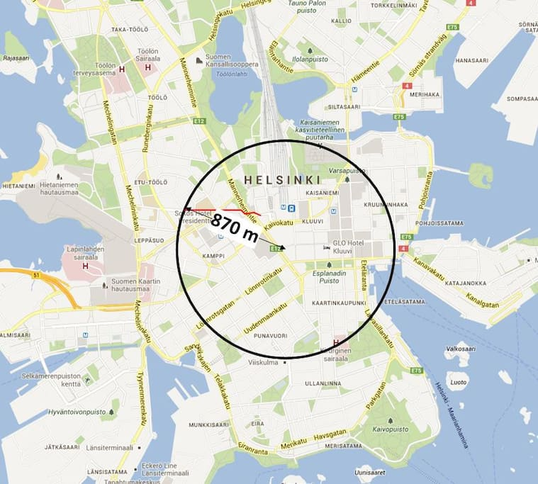 The apartment is just 870 m from the absolute Center of Helsinki which is considered to be the main door of the department store Stockmann.