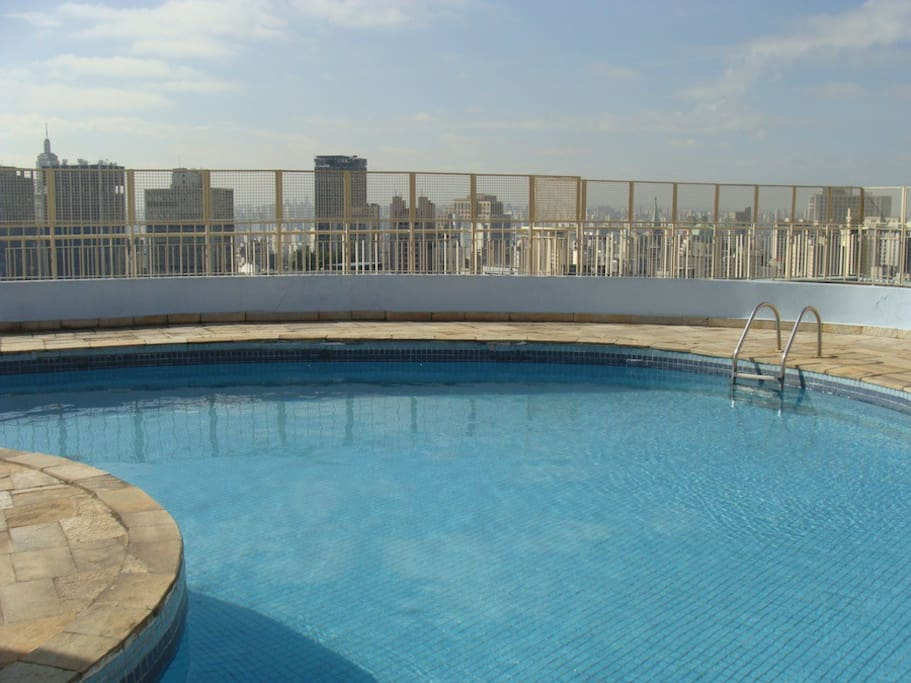 outdoor pool on top of the building