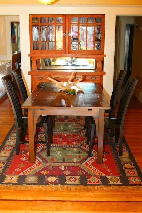 Dining Room. The table has extended leaves so that the table can seat up to 10