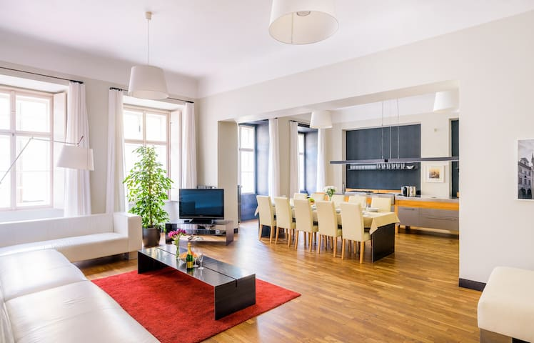 Spacious main living/kitchen area. Large windows allow a vast amount of light into space.