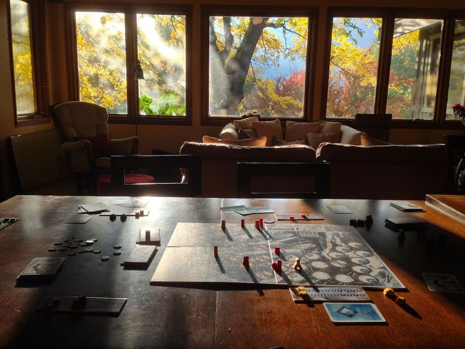 Board games in the communal area; fall.