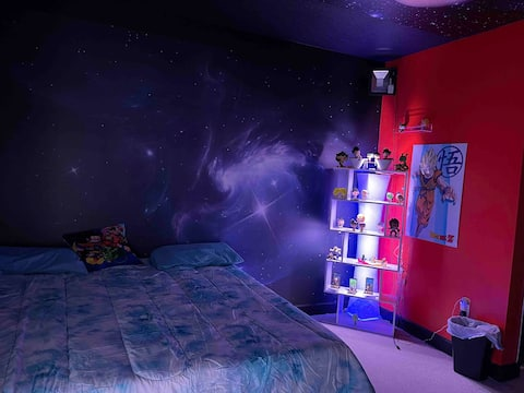 Dragon  Ball Z themed room with pool and jacuzzi