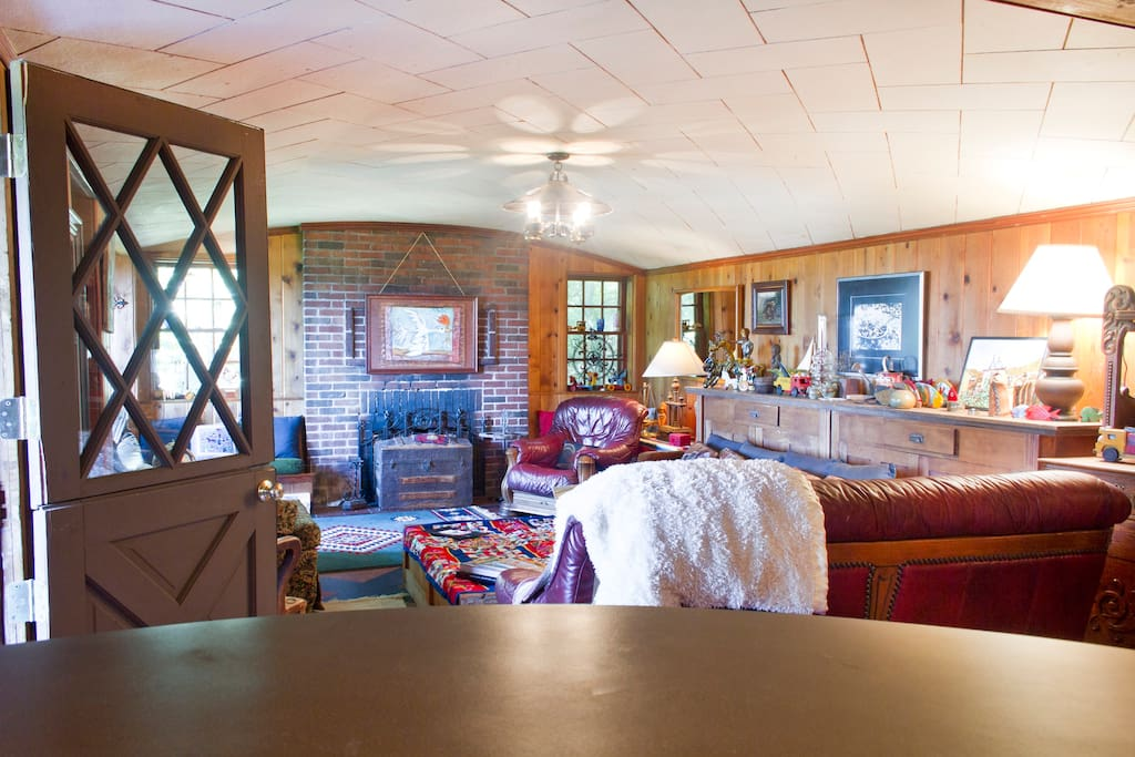 """Vintage knotty pine paneling in what was the original """"rumpus"""" room."""