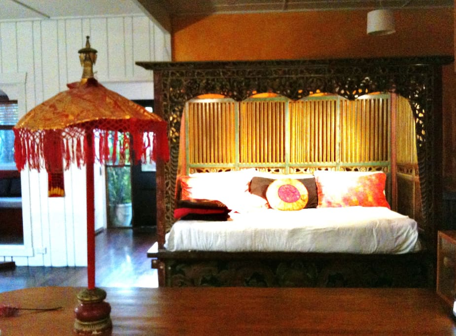 The big House has Bali inspired furnishings, polished timber floors, lots of charm.