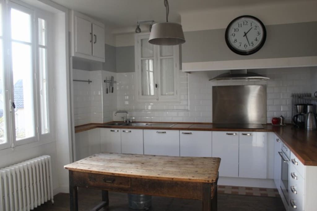Large fully equipped kitchen with dishwasher, fridge, induction stove, oven and microwave.