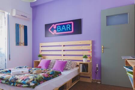 Purple Modern Room in Athens / 10minMetro - Ilioupoli - Flat