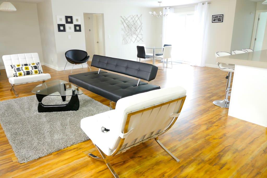 Open Floor Plan with Mid Century Modern inspired Furniture