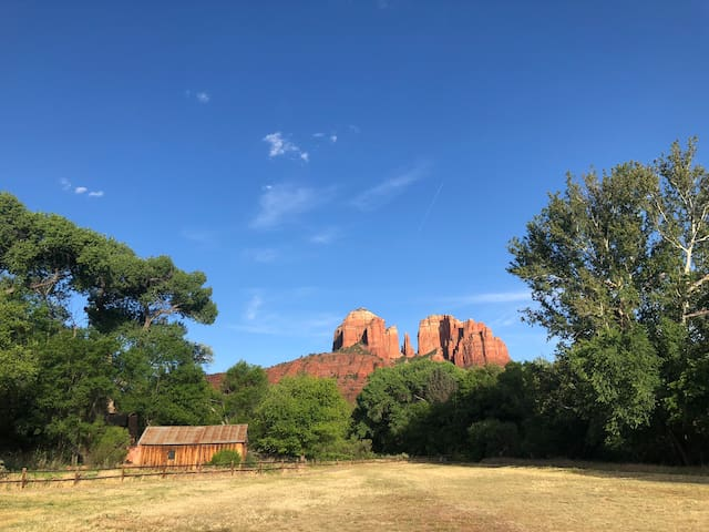 Crescent moon ranch facing Cathedral Rock.