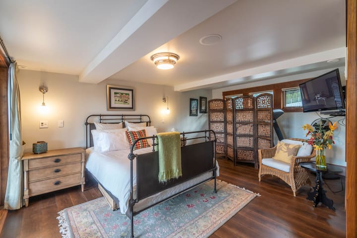"""Our second bedroom has a queen bed, 46"""" TV and is wired for sound."""