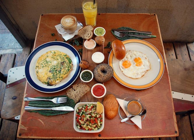 Our included breakfast breakfast waiting for you at Casbha caffe