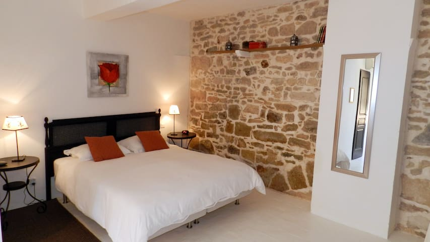 Large,quiet room,stone wall, private bathroom - Lézignan-Corbières - Bed & Breakfast
