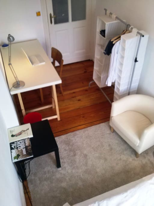 small, bright, recently refurbished, wooden floor and some new carpet and armchair