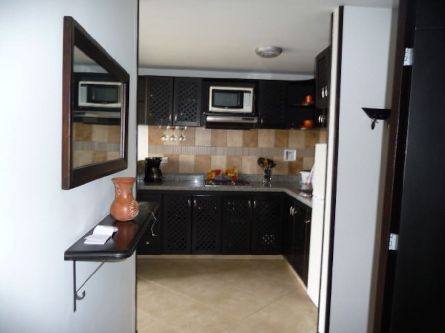 Entry into apartment showing kitchen.