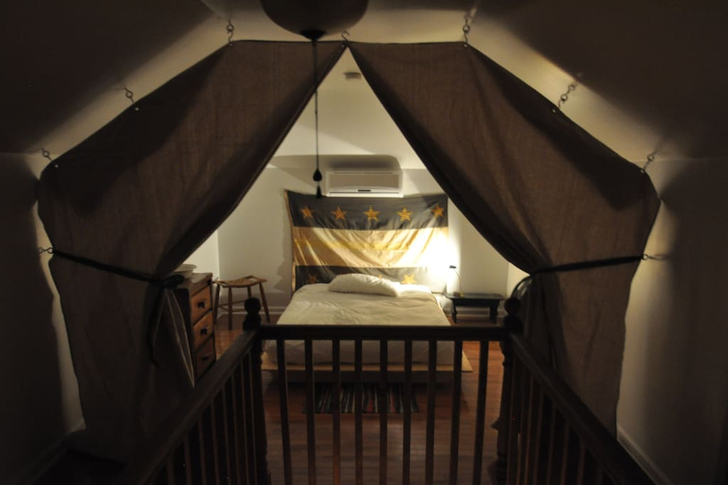 Upstairs tent room.
