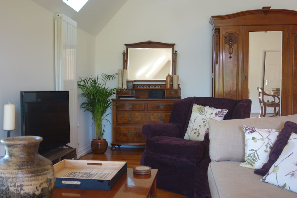 Seating area with smart tv and lovely views over the beautiful Derbyshire countryside.
