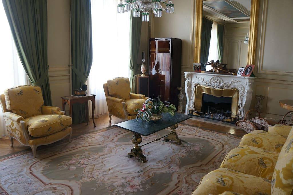 Salon avec cheminée pour dégustation de thé.