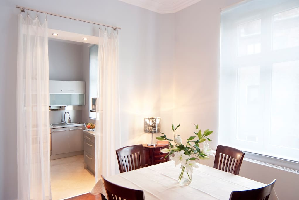 Dining room, there is also a sofa that turns into a double bed which allows for couples to have some separation between the master bedroom and this additional sleeping area