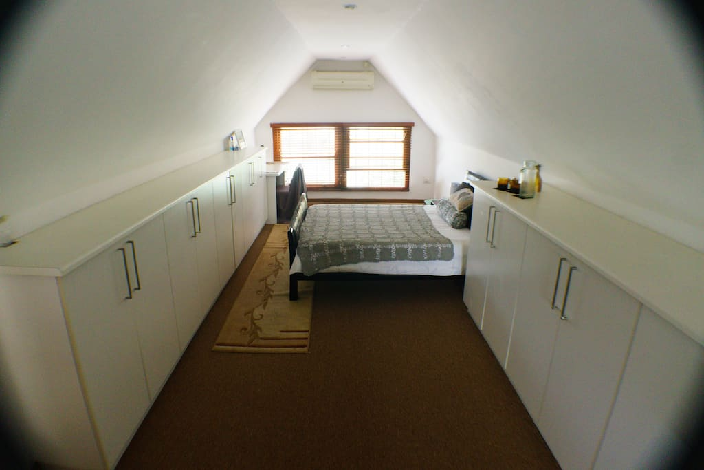 Your loft room. This whole floor is your private open plan loft space. There is a bathroom on the same floor.