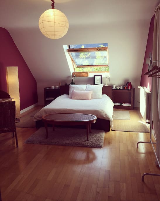 Chambre de 26m2 lumineuse et calme.