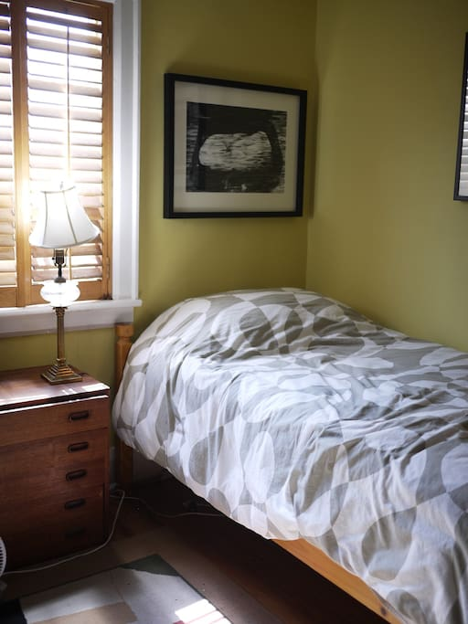 Here is the private bedroom. perfect for a single person!  Full bed with premium mattress, lots of natural light, extremely quiet at night.
