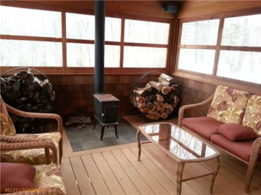 Four Season porch with wood stove